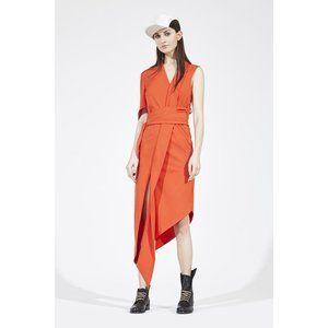 Wilde Vertigga Coral Orange Geisha Wrap Dress Sz M